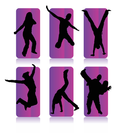 Silhouettes of party people in a purple frame Vector