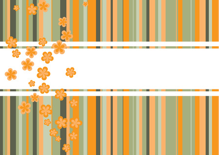 sloping: A colorful background template with flowers in de colors orange green and brown
