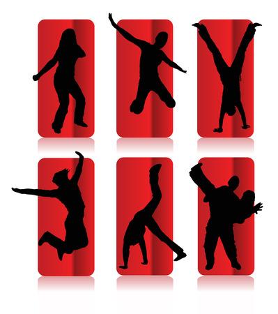interactions: Silhouetten van de partij mensen in een frame Stock Illustratie
