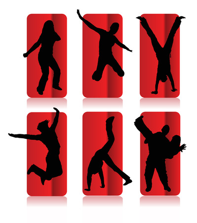 Silhouettes of party people in a frame Illustration