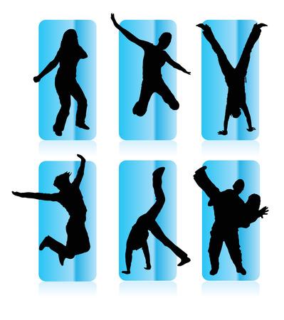 interactions: Silhouetten van party people in een frame Stock Illustratie