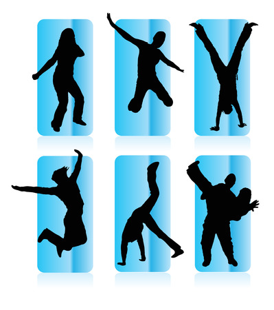 visual art: Silhouettes of party people in a frame Illustration