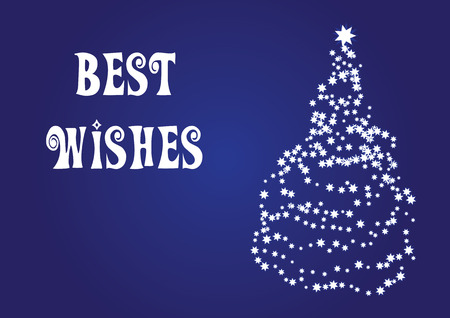 Best wishes, christmas vector card - with a christmas tree Stock Vector - 5385099