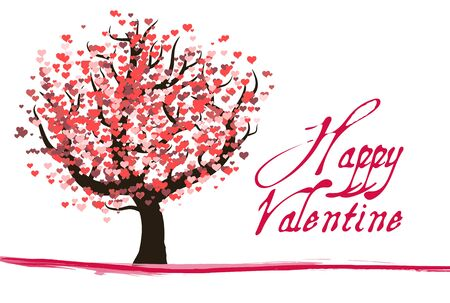 jungle vines: Red valentine tree with hearts and text