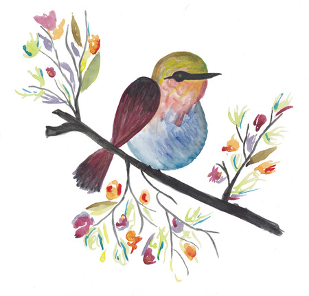 Watercolor colorful bird on a wooden stick