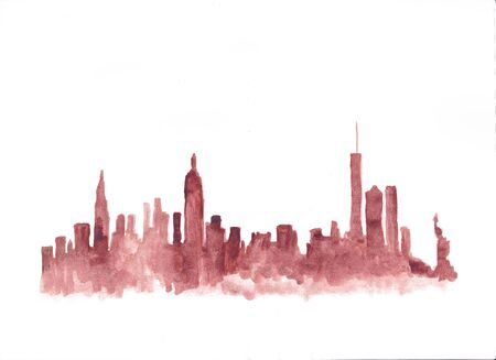 new york skyline: Red watercolor skyline of New York City in USA