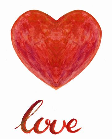 underneath: Water Color heart with hand lettering underneath love Stock Photo