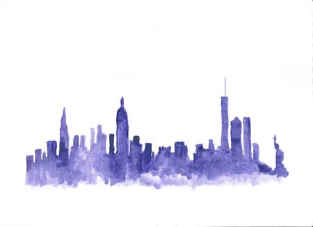 Watercolor skyline of New York City in USA Stock Photo