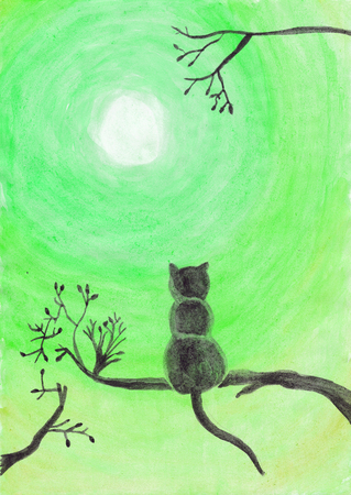 Watercolor illustration of a cat on a tree staring at the moon