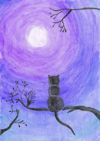 silueta de gato: Watercolor illustration of a cat on a tree staring at the moon