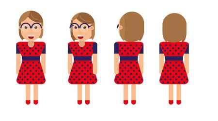 Vector karakterontwerp van een jong meisje met een bril en een gestippelde jurk