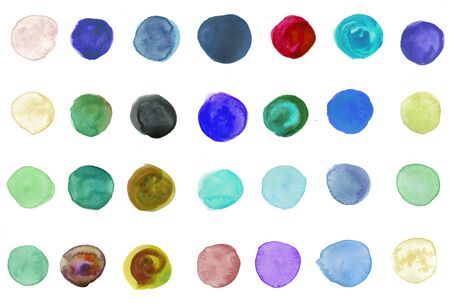 Watercolor hand painted circle shape design elements Stock Photo