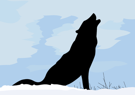 Wolf concept in winter snow calling for others vector