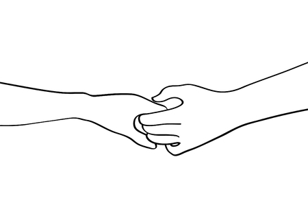 illustration vector doodles hands holding each other in peace