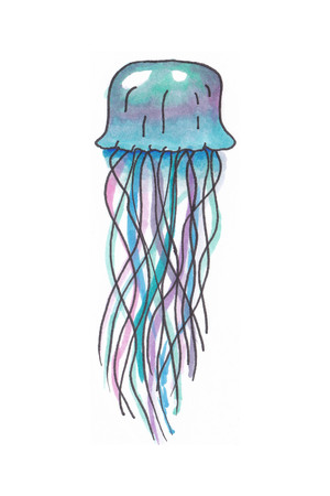 Handdrawn illustration of a colourful jellyfish in pink blue and green Stock Photo