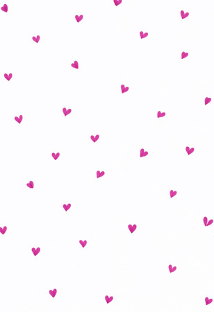 Handdrawn pattern with lots of hearts in pink isolated on white