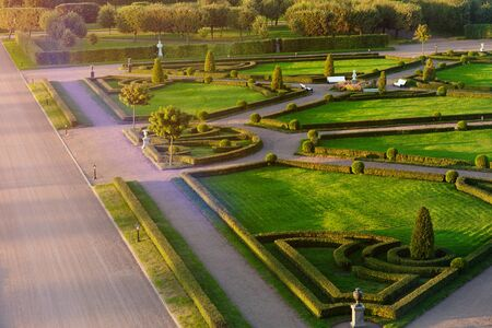 classic park with avenues, sculptures and a green maze. Creation of human hands