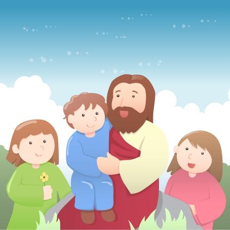 Jesús rodeado de niños, enseñándoles. En el estilo de dibujos animados