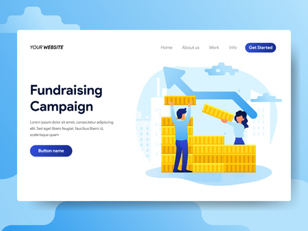 Landing page template of Fundraising Campaign Concept. Modern flat design concept of web page design for website and mobile website.Vector illustration