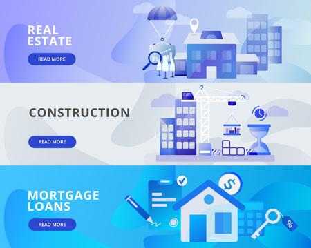 Web Banner Illustration of Real Estate, Construction, Mortgage Loans. Modern flat design concept of web page design for website and mobile website.Vector illustration