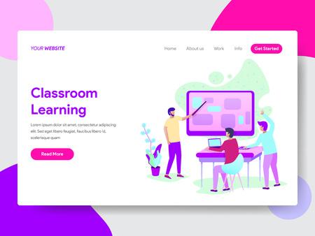 Landing page template of Classroom Learning Method Illustration  Concept. Modern flat design concept of web page design for website and mobile website.Vector illustration