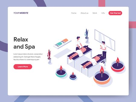 Landing page template of Relax and Spa Illustration Concept. Isometric flat design concept of web page design for website and mobile website.Vector illustration EPS 10