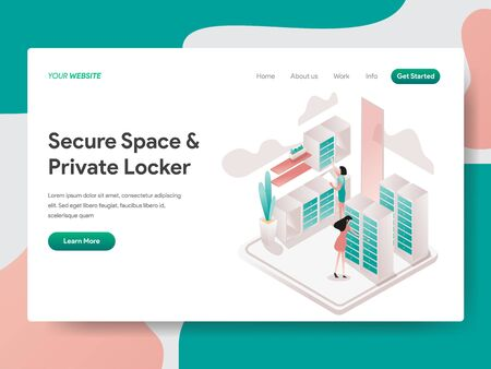Landing page template of Secure Space and Private Locker Illustration Concept. Isometric design concept of web page design for website and mobile website.Vector illustration Illustration