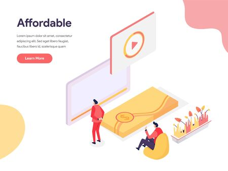 Cheap and Affordable Illustration Concept. Isometric design concept of web page design for website and mobile website.Vector illustration Illusztráció