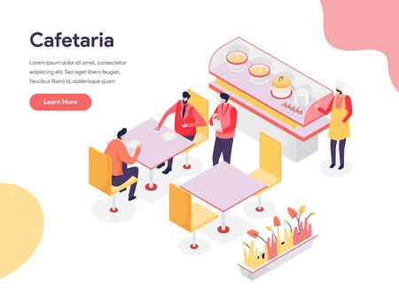 Cafetaria Illustration Concept. Isometric design concept of web page design for website and mobile website.Vector illustration