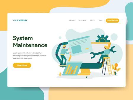 Plantilla de página de destino del concepto de ilustración de mantenimiento del sistema. Concepto de diseño plano moderno de diseño de página web para sitio web y sitio web móvil.Ilustración de vector