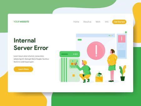 Landing page template of Internal Server Error Illustration Concept. Modern Flat design concept of web page design for website and mobile website.Vector illustration Vector Illustration