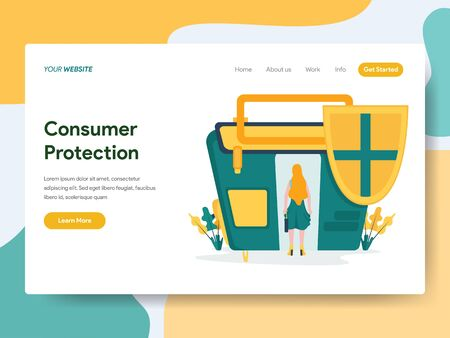 Landing page template of Consumer Protection Illustration Concept. Modern Flat design concept of web page design for website and mobile website.Vector illustration