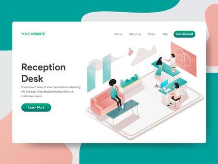 Landing page template of Reception Desk Illustration Concept. Isometric design concept of web page design for website and mobile website.Vector illustration