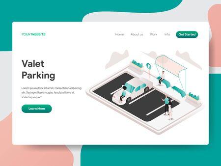Landing page template of Valet Parking Illustration Concept. Isometric design concept of web page design for website and mobile website.Vector illustration