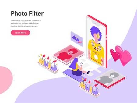 Landing page template of Photo Filter Isometric Illustration Concept. Isometric flat design concept of web page design for website and mobile website.Vector illustration Illustration