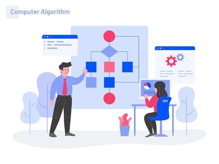 Computer Algorithm Illustration Concept. Modern flat design concept of web page design for website and mobile website.Vector illustration Vectores