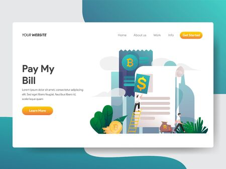 Landing page template of Money Statement Or Bill Concept. Gradient Color design concept of web page design for website and mobile website.Vector illustration