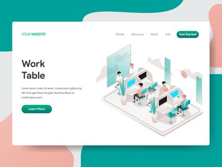 Landing page template of Work Table Illustration Concept. Isometric design concept of web page design for website and mobile website.Vector illustration
