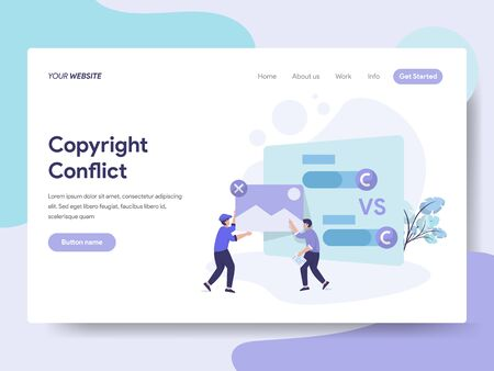 Landing page template of Copyright Conflict Illustration Concept. Isometric flat design concept of web page design for website and mobile website.Vector illustration