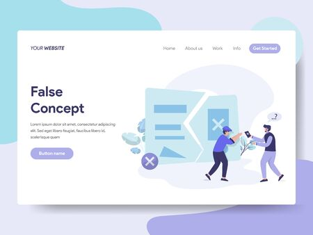 Landing page template of False Idea and Concept Illustration Concept. Isometric flat design concept of web page design for website and mobile website.Vector illustration 일러스트