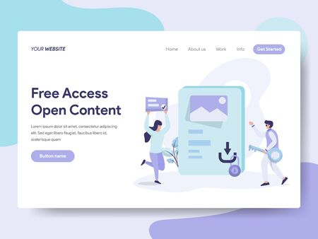 Landing page template of Free Access and Open Content Illustration Concept. Isometric flat design concept of web page design for website and mobile website.Vector illustration