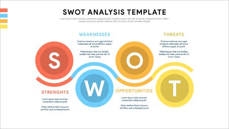 Four colorful elements with text inside placed around circle. Concept of SWOT-analysis template or strategic planning technique. Infographic design template. Vector illustration. Ilustrace