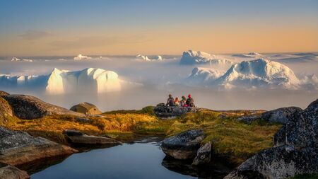 Greenland Ilulissat glaciers at fjord Disco Bay West Greenland