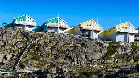 West Greenland Ilulissat Jakobshavn Jacobshaven colored chimneys Stock Photo