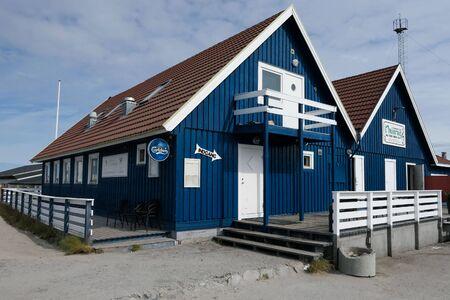 West Greenland Ilulissat Jakobshavn Blue houses Stock Photo - 139932751