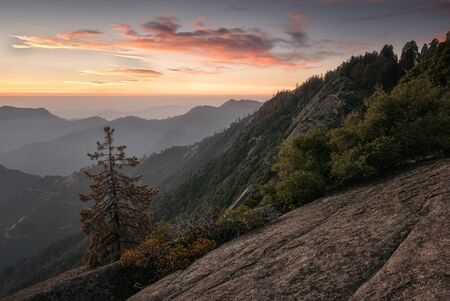 Moro Rock is a granite dome rock formation in Sequoia National Park, California, United States Beautiful sky
