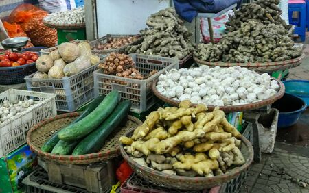 typical Vietnamese food and regional healthy dishes, market retail space tradition lifestyle