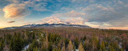 High Tatras in the evening light with beautiful clouds