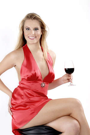 woman drinking wine: Red red wine Stock Photo