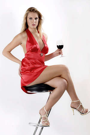 femme fatale: Red red wine Stock Photo